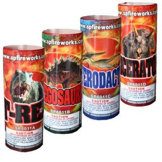 Dinosaur 3x9 4 Assorted Fountains by Supreme Fireworks
