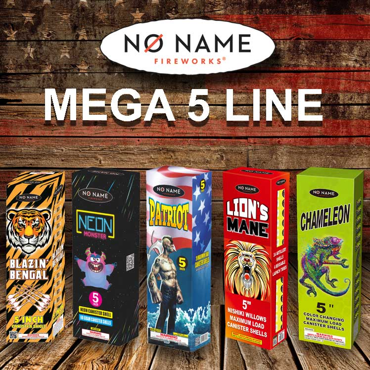 No Name Fireworks 5 Inch Canister Shells New for 2021